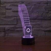 מתנות יצירתי 3D משחק כרטיס קישוט בית מנורת שולחן LED אורות ליל עם 7 צבעים.