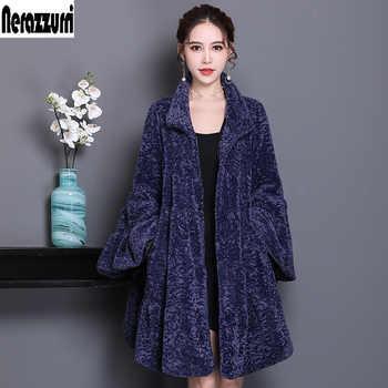 Nerazzurri Luxury runway faux fur coat woman full shirt flare sleeve fluffy faux shearling jacket plus size outwear 5xl 6xl 7xl - DISCOUNT ITEM  50% OFF All Category