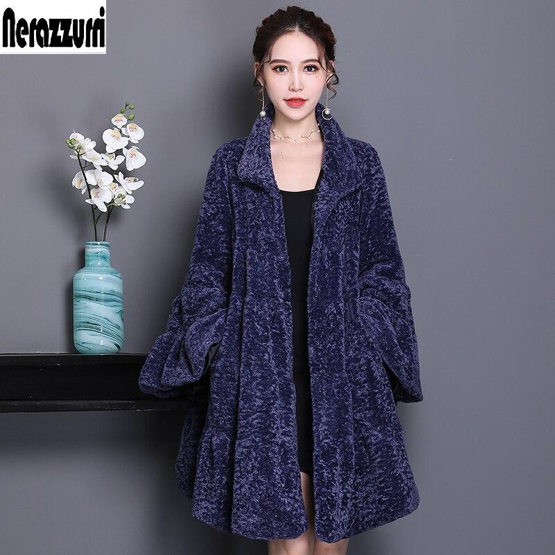 Nerazzurri de pista abrigo de piel sintética Mujer llena camisa flare manga fulffy chaqueta de borreguito sintético de plus tamaño abrigo 5xl 6xl 7xl