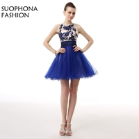 New Arrival Royal Blue Cocktail Dresses Mini 2017 Embroidery Tulle Jurken Ever Pretty Cocktail Party Dress