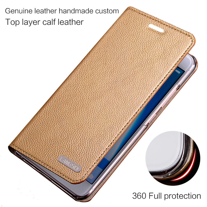 wangcangli leather calfskin litchi texture For Xiaomi Mi MIX flip phone case all handmade custom in Flip Cases from Cellphones Telecommunications