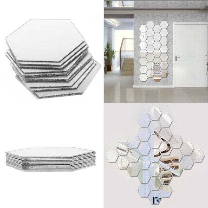 12 teile/paket 3D Spiegel Fliesen Aufkleber DIY Steuern Dekor