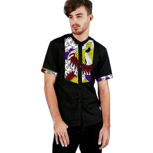 African Style Mans Shirts African Men Clothing Dashiki Clothes Print And  Black Cotton Fabric Short Sleeve 192e5f950086