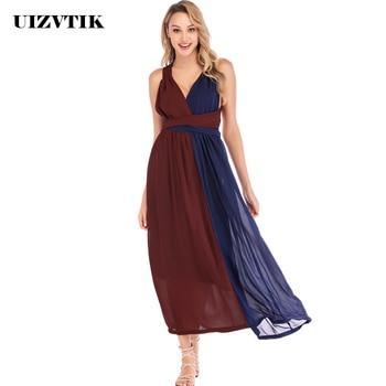 c3d02e667c8c1 Bandaj yaz elbisesi Kadın 2019 Zarif Seksi V Yaka Backless Gelinlik Uzun Parti  Elbise Kadın Rahat Artı Boyutu Ince Maxi Elbiseler