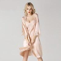 Сексуальная Кардиган Атлас Халаты Женская баня Халаты шелковые пижамы дамы Шелковый костюм Летний стиль невесты халат женщина Longo Ночная