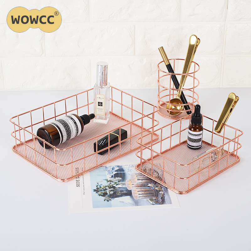 16 Rose Gold And Copper Details For Stylish Interior Decor: Nordic Style Rose Gold Metal Iron Storage Basket