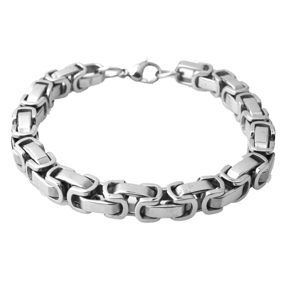 Simple Silver Color Byzantine Chain Bracelet For Men Cuff Jewelry 4mm 5mm 8mm Wide Stainless Steel 7-11 Inches Bangle