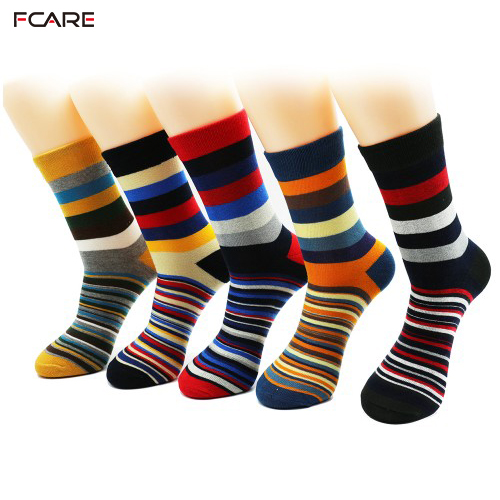 10PCS=5 Pairs Pack Men's Combed Cotton Dress Crew Socks Classic Colorful Stripe Patterned Colourful Men Dress Socks 6-11