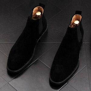 New arrival męskie dorywczo oddychające buty do kostki ze skóry naturalnej nubukowe botki chelsea młody dżentelmen kowbojskie buty zapato hombre