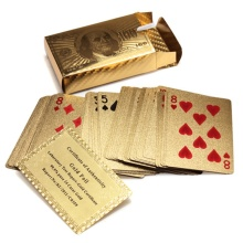 Hot Selling Pure 24 K Carat Novelty Certified Gold Foil Plated Poker Game Playing Cards w/ 52 Cards & 2 Jokers Special Gift(China)