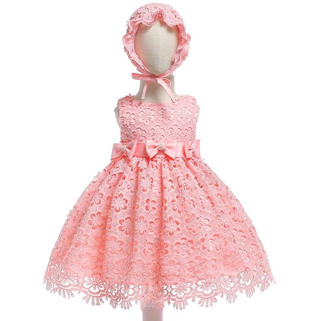Infantile Robe Chapeau Nouveau-Né Bebes 1 Ans Petite Fille Robe pour Bébé Dentelle Partie D'anniversaire Tenues Baptême Nouvelle Année De Noël porter