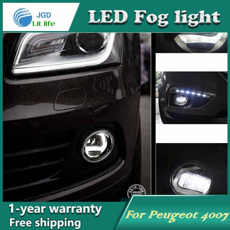 Super Witte Led Dagrijverlichting Case Voor Peugeot 4007 Drl Lichtbalk Parking Auto Mistlampen 12V Dc hoofd Lamp