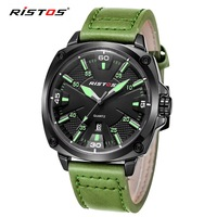 2016 New Ristos Luxury Casual Men Leather Watches Analog Military Sports Watch Quartz Wristwatch Relogio Masculino