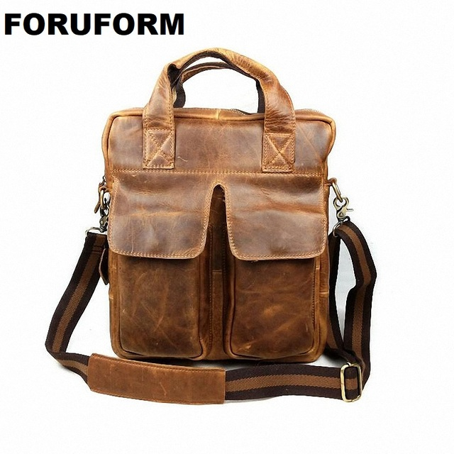 Man Vertical Genuine Leather Bag Men Messenger Commercial men s 13 Inch  Laptop Briefcase Designer Handbags Shoulder 77073a655910a