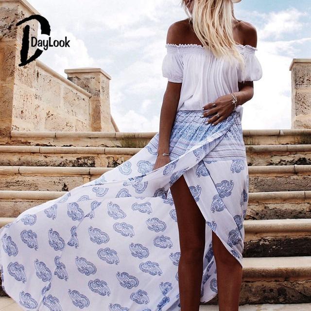 972e8145ced14f Daylook 2016 Zomer Rokken Hoge Taille Wit Boho Print Wrap Voorkant Split  Maxi Rok Elegante Vintage