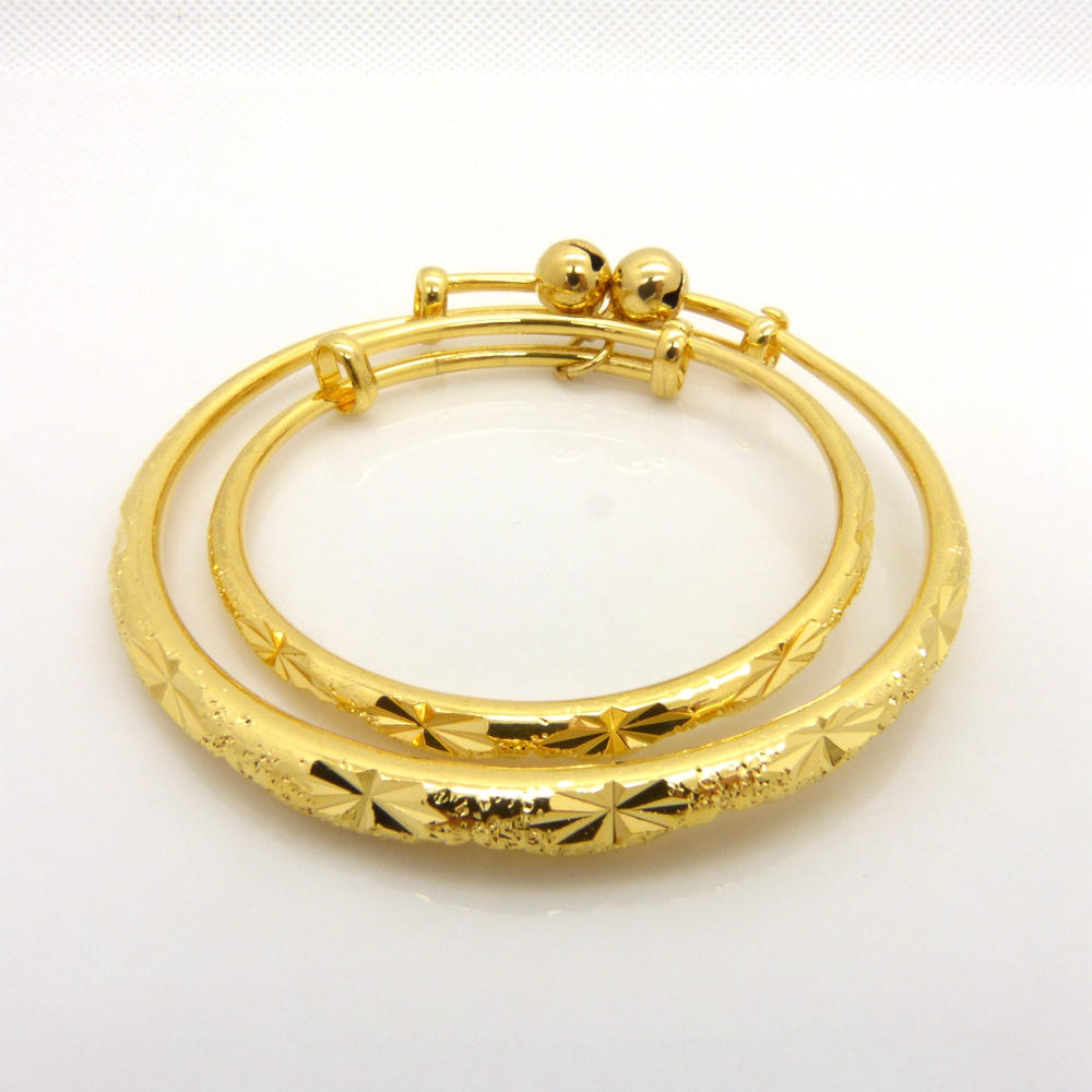 2 шт. браслет набор Звезда Резные длительного желтого золота Заполненные браслет для мамы и детей
