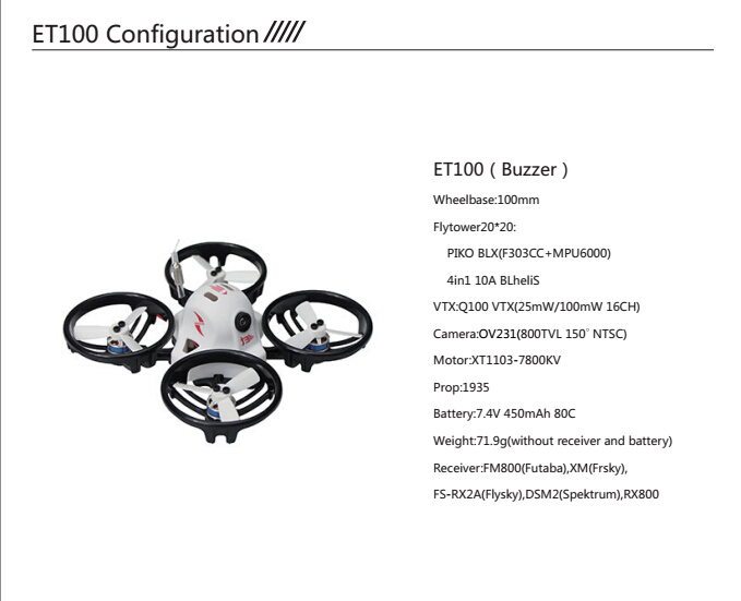 ET100 PNP Brushless FPV Racer Aircraft Mini RC Drone with Spektrum RX / Flysky Receiver Battery Remote Control Toy Accessory jmt et125 pnp fpv brushless remote control racing drone mini helicopters flysky futaba receiver accessory