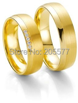 custom tailor handmade yellow Gold Plating titanium fashion jewelry his and hers engagement wedding rings sets for couples anel de prata his and hers rings white gold plating pure titanium engagement wedding bands rings 2014