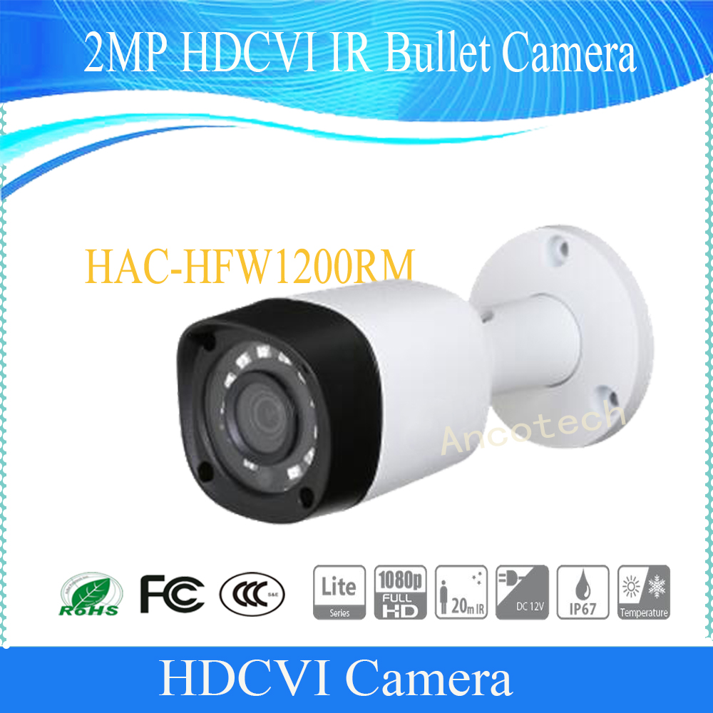 Free Shipping DAHUA Security Camera 2MP 1080P IR Waterproof HDCVI Bullet Camera with Metal Housing with Fixed Lens HAC-HFW1200RM bullet camera tube camera headset holder with varied size in diameter