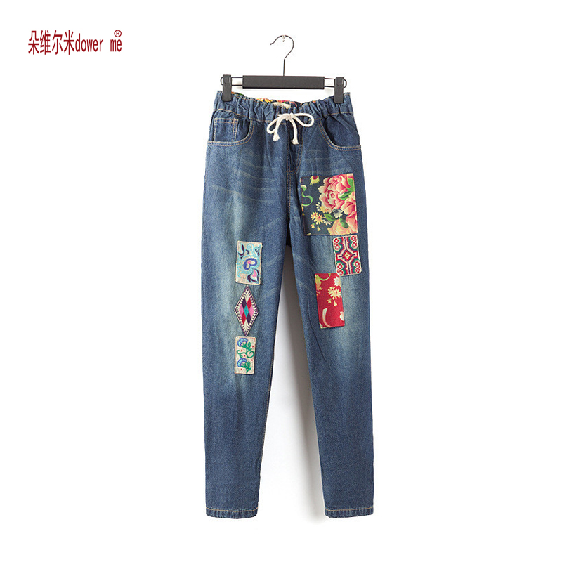 dower me Personalized vintage embroidery stitch patchwork elastic denim pants mori girl jeans boutique trousers women цена