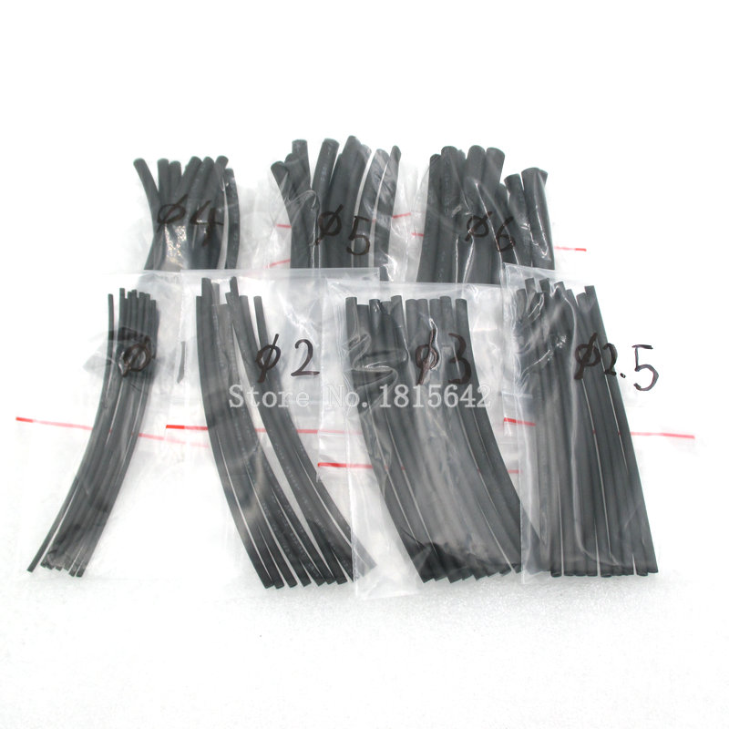 7Meters/LOT 1mm 2mm 2.5mm 3mm 4mm 5mm 6mm Heat Shrink Heat Shrinkable Sleeving Tubing Tube Wrap Wire Kit Black Insulation Sleeve
