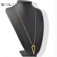 Sindlan Necklace Fashion Simple Style Golden Hollow-out Sweater Chain Pendant Long Triangle Necklace For Women