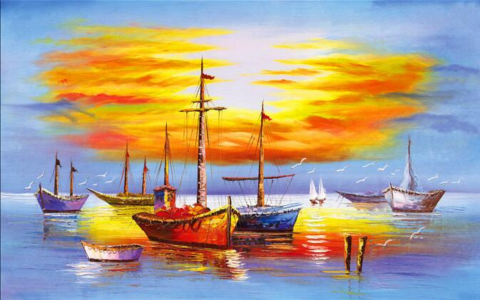 3d Wallpaper Custom Mural Non Woven Room Wall Sticker Sunset Scenery Fishing Boat Paintings Photo Murals In Wallpapers From Home