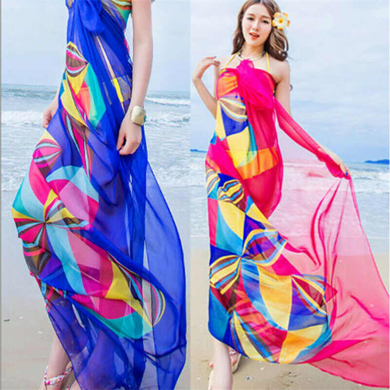 Gradient Color Bikini Cover Up Women Red Blue Colorful Print Beach Cover Ups Women Pareo Beach Tunic Female Scarf Bathing Suits