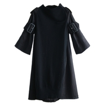 CHICEVER Spring Knitted Women Dress With Belt Flare Sleeve Loose Big Size Back Split Black Dresses Female Clothes Fashion 2018