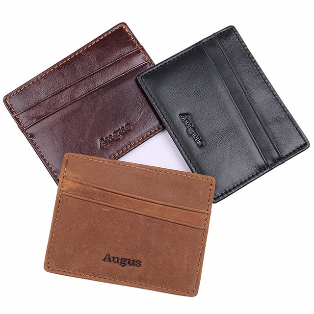 57d66e732b6e Augus Geuniue Leather Fashion Design Unisex Brown Black Color Credit Card  Holder Men Card Holder Money Holder R-8101