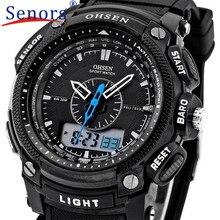 Alarma LCD Digital Fecha Mens Superior de Goma del Cuarzo del Deporte Militar Reloj de OHSEN de Junio de 1
