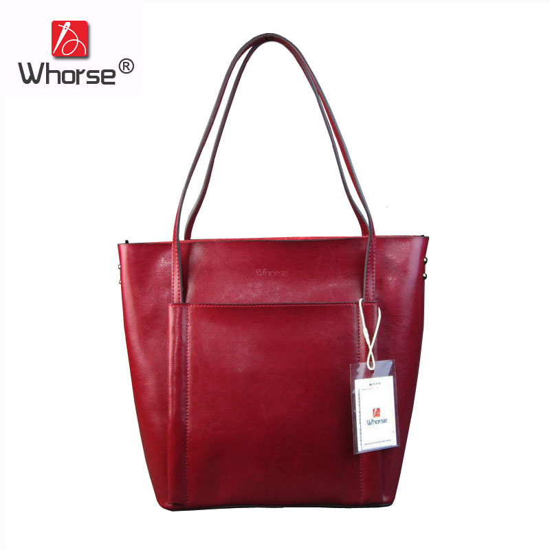 [WHORSE] Famous Brand Luxury Genuine Leather Women Vintage Tote Bag Cowhide Big Shoulder Bags Handbag For Woman W08030 new genuine leather bags for women famous brand boston messenger bags handbags tassel tote hand bag woman shoulder big bag bolso