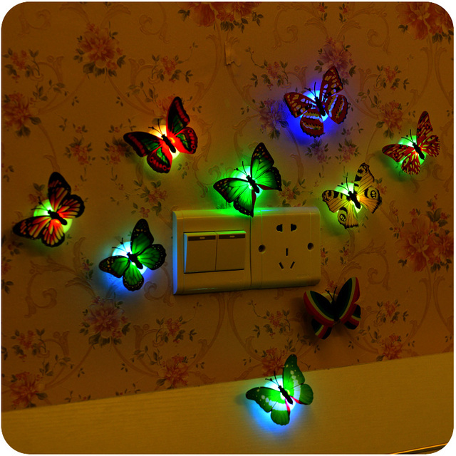 5pcs Colorful LED Romantic Butterfly Night Light Stickers Decorative Items Party Wedding Supplies Luminaria Lamp