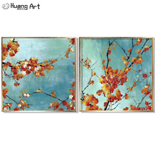 Hand-painted High Quality Modern Plum Blossom Tree Oil Painting on Canvas for Wall Art Decor Chinese Style Orange Flower
