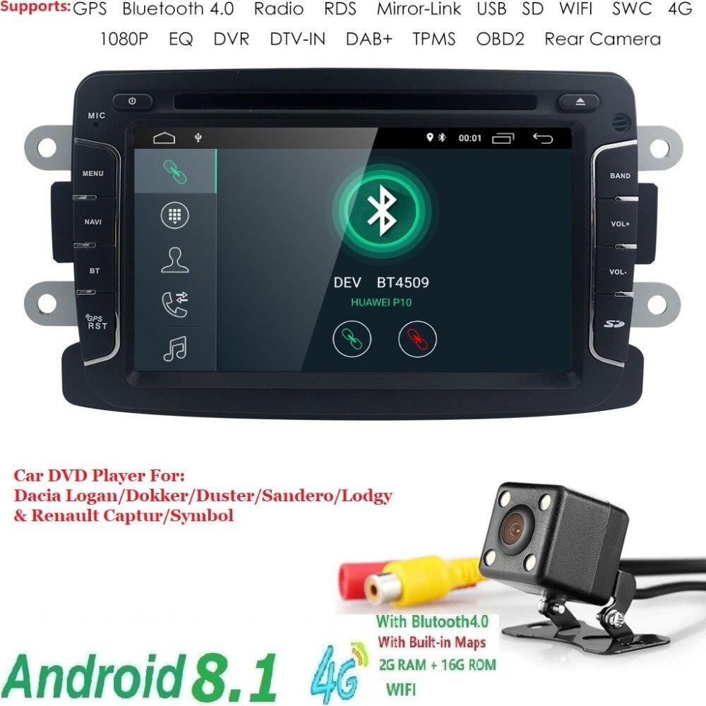 Android 8.1 WIFI 4g 2 GRAM 16 GROM IPS Voiture GPS Navigator Radio Pour Dacia Logan/Dokker/ duster/Sandero/Lodgy et Renault Captur/Symbole