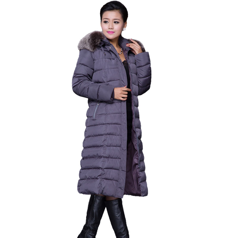 2017 New Women's Winter Cotton Padded Jackets Long Warm Coat Ladies Fur Collar Hooded Overcoat Parkas Female Outerwear Big Size wmwmnu women winter long parkas hooded slim jacket fashion women warm fur collar coat cotton padded female overcoat plus size