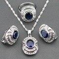 Best Selling Azul Criado Sapphire Branco Zircon 925 Jóias de Prata Conjuntos Brincos/Pingente/Colar/Anel Para As Mulheres Dom gratuito TZ17