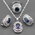 Best Selling Blue Created Sapphire White Zircon 925 Silver Jewelry Sets Earrings/Pendant/Necklace/Ring For Women Free Gift TZ17