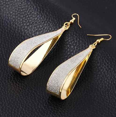 Scrub Water Drop Earrings For Women Silver Gold Color Long Earring Jewelry Accessory Vintage Punk Exaggeration Dangle Eardrop