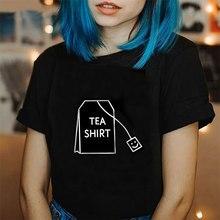 Лето Ulzzang корейский модный стиль Топы чайная рубашка Tumblr Футболка Harajuku Kawaii футболки с круглым вырезом короткий рукав черный белый футболка