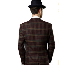 Brown Lattice Men Slim Fit Suit Sets (Jacket+Vest+Pants)