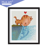 Hua Art Diamond Embroidery Diy Cat Kiss Fish Animal Diamond Drawing Diamond Mosaic Diamond Embroidery Diy