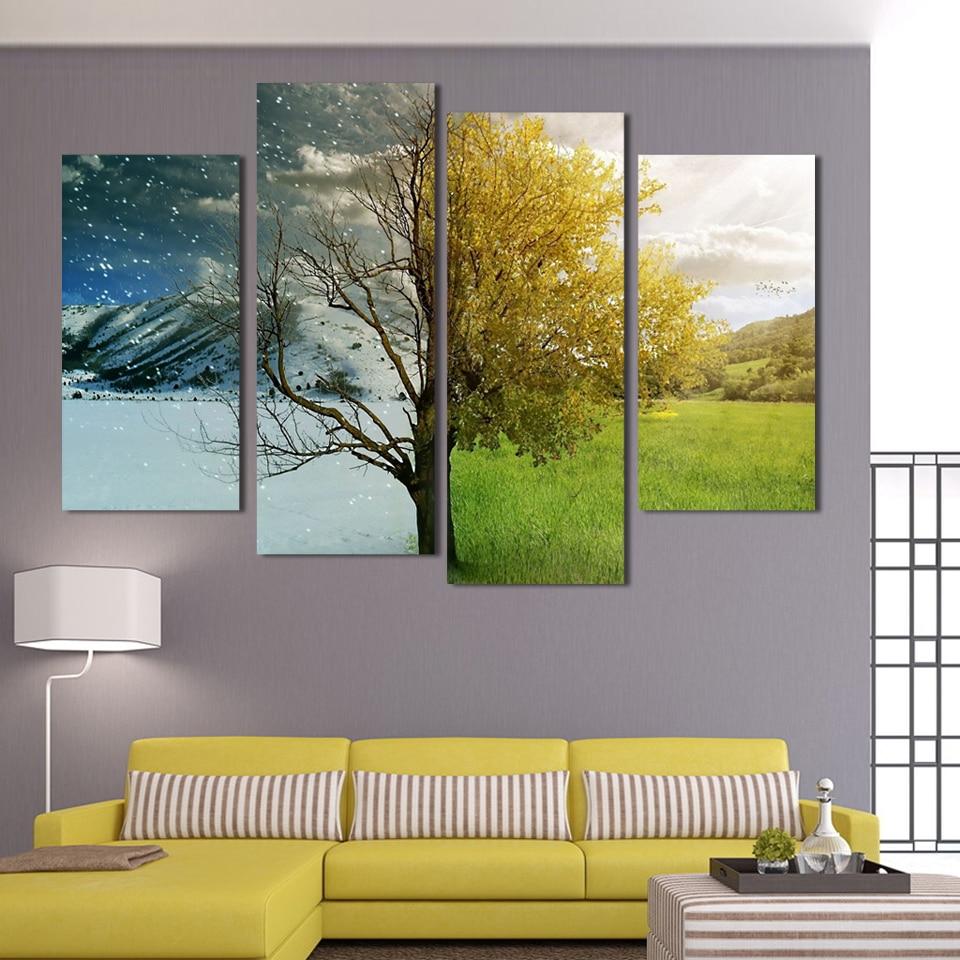 Aliexpress.com: Comprar 4 paneles lienzo medio invierno y primavera ...
