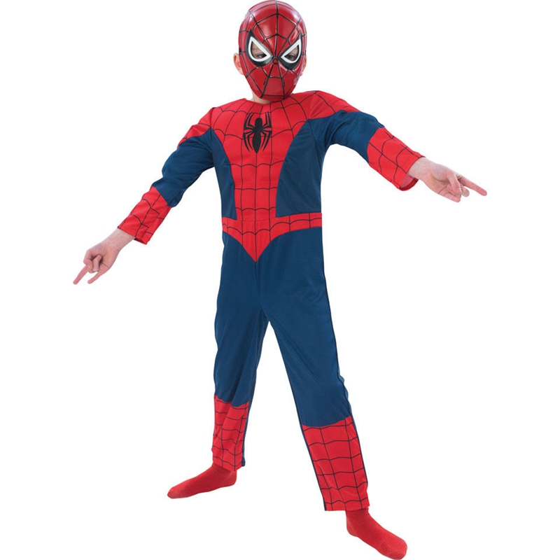Kids Ultimate Spiderman Muscle Costume With Plastic Mask