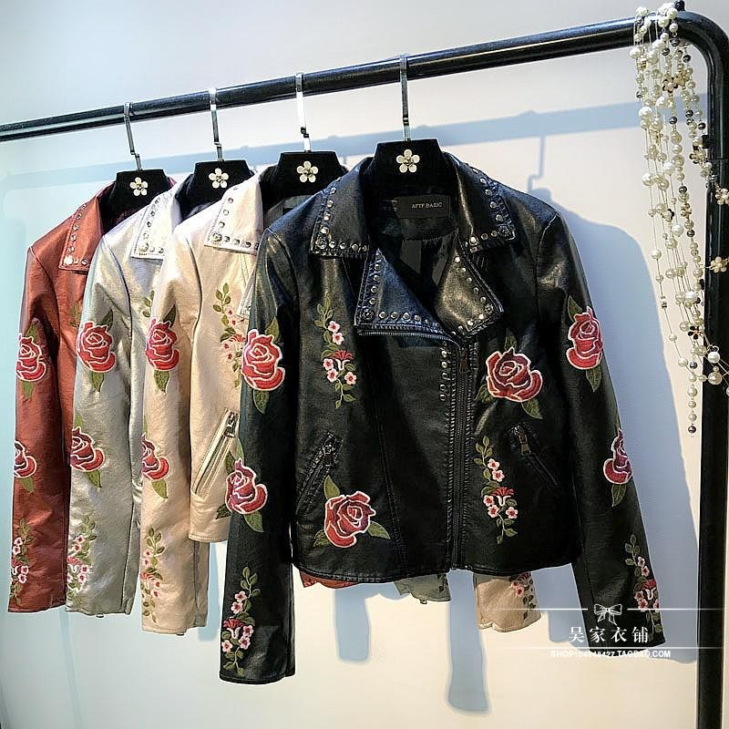 Spring Autumn New Flower Embroidered Leather Jacket Ladies Short