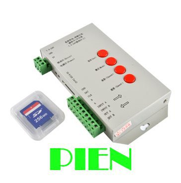 ФОТО T1000S RGB LED Pixel Controller DMX 512 with SD Card Configurable SPI for magic led strip WS2811 WS2801 LP6803 12v Free shipping