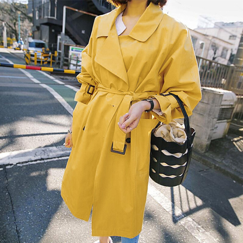 Spring Autumn Long   Trench   Coat Women 2019 Casual Double Breasted Womens windbreaker With Belt Overcoat women Business Outerwear