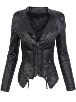 Gothic Women Motorcycle Jacket Black faux leather Outerwear