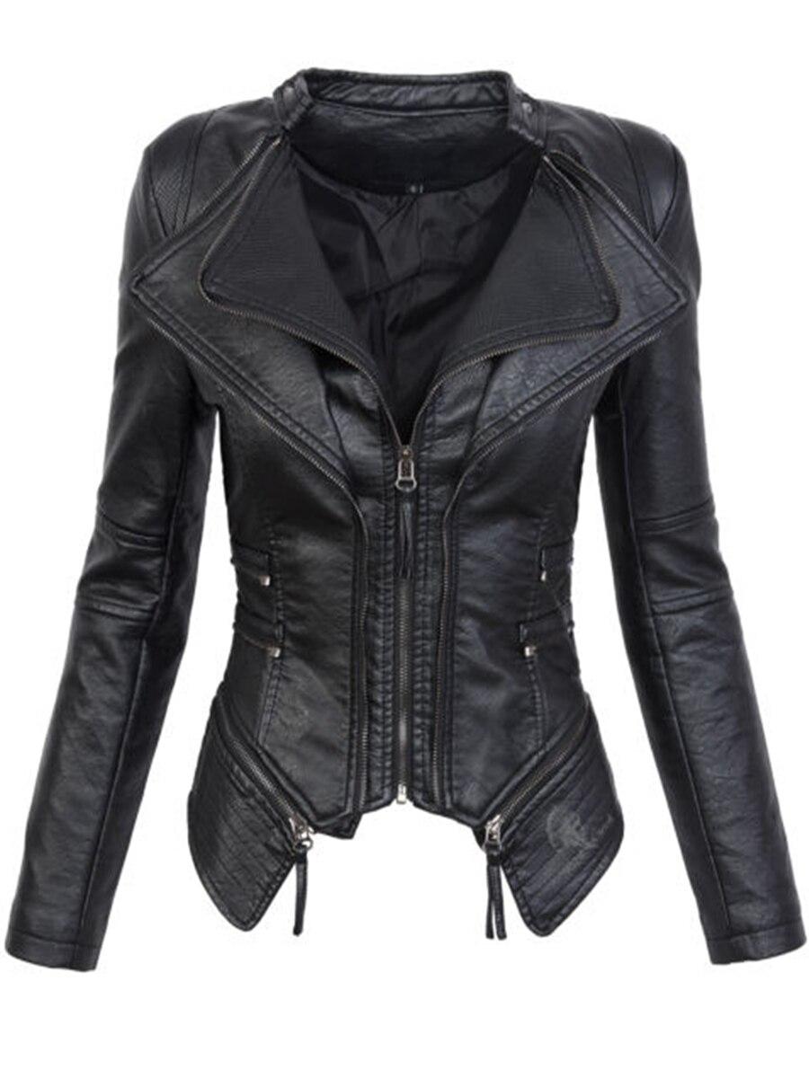 Gótico cuero PU chaqueta mujer moda Otoño Invierno chaqueta de la motocicleta de imitación de cuero negro abrigos prendas de vestir exteriores 2018 abrigo caliente