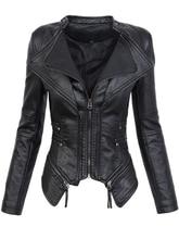 Готический искусственная кожа полиуретан куртка Для женщин зима-осень модная мотоциклетная куртка черный пальто из искусственной кожи Верхняя одежда 2018 пальто Лидер продаж